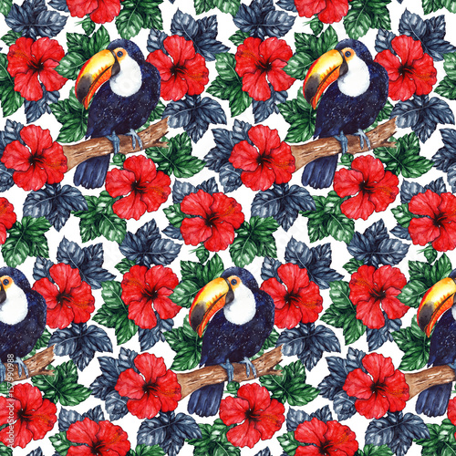 Watercolor exotic tropical flower hibiscus animal bird toucan seamless pattern texture background - 157990988