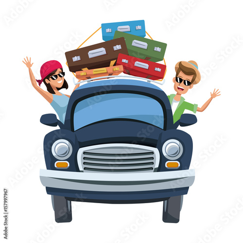 Staande foto Cartoon cars cartoon character travelers with vintage car with luggage on top vector illustration