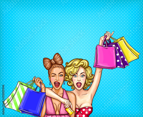 Vector pop art illustration of two young glamorous enthusiastic girls show shopping bags with their purchases. Poster for the advertising discounts and sales