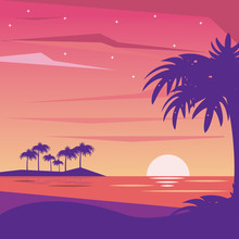 Colorful Background Landscape Of Nightly Beach Vector Illustration