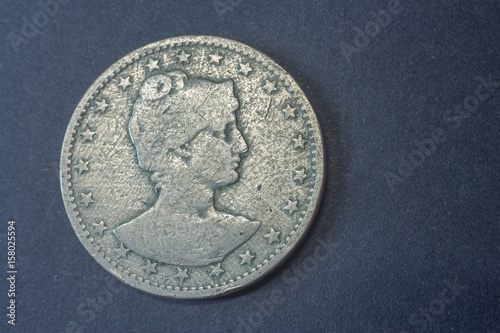 Poster  Brazil four hundred Reis 1901, Liberty head coin, vintage old, difficult and rare to find