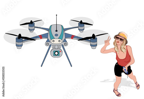 Cadres-photo bureau Art Studio Young woman making selfies with a drone