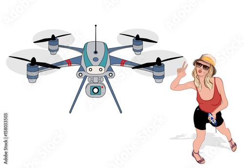 Fotobehang Art Studio Young woman making selfies with a drone
