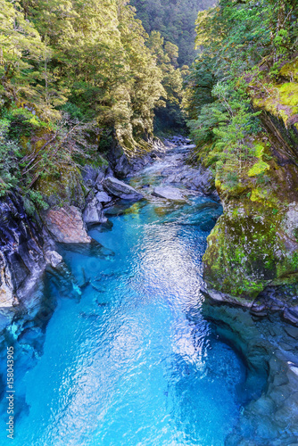 Blue River gorge at Blue Pools , Makarora River, South Island of New Zealand