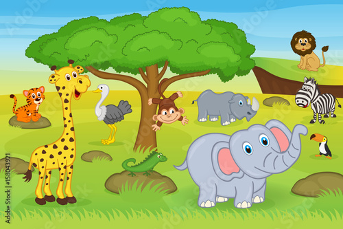 animals in safari - vector illustration, eps