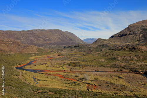 Colorful valley with rusty stones in Patagonia Argentina