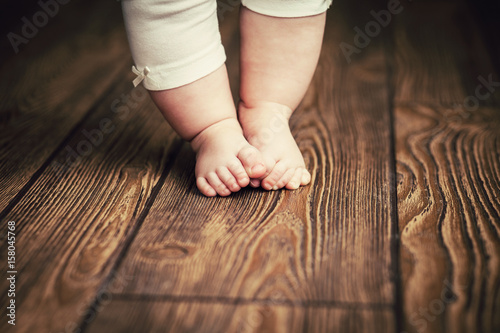 Obraz Baby feet doing the first steps. Baby's first steps. Baby feet . - fototapety do salonu