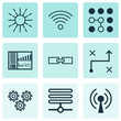 Machine Learning Icons Set. Collection Of Mechanism Parts, Radio Waves, Computing Problems And Other Elements. Also Includes Symbols Such As Algorithm, Solution, Regulation.