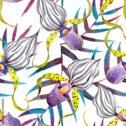 watercolor-orchid-flowers-tropical-pattern