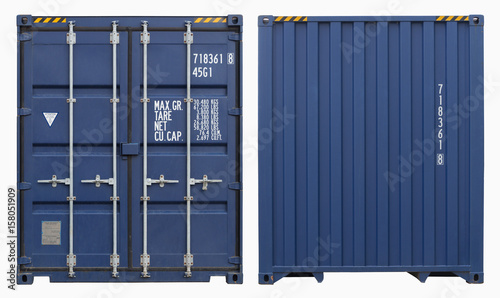 Stampa su Tela  Shipping container, isolated, two sides view
