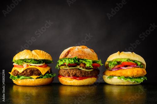 Obraz na plátně  Cheeseburger, Hamburger and Chicken burger