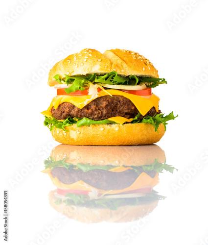 Fotografie, Obraz  Cheeseburger Sandwich Isolated on White Background