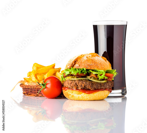 Obraz na plátně  Beef Burger with Cola and French Fries on White Background