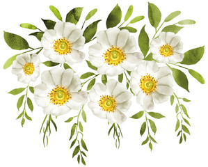 Panel SzklanyWhite watercolor flowers bouquet decoration.
