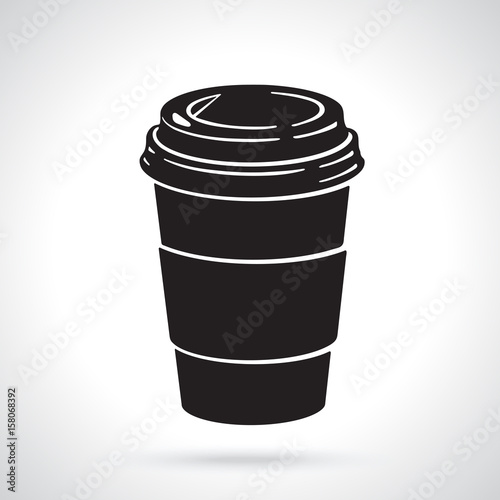 Silhouette Of Disposable Paper Cup With Coffee Or Tea Patterns Elements For