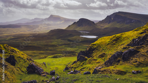 Fototapeta Landscape view of Quiraing mountains on Isle of Skye, Scottish highlands obraz