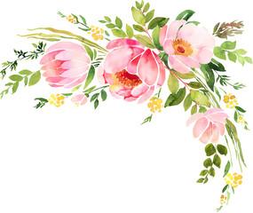 Naklejka Bohemian watercolor floral wreath. Wedding decoration composition
