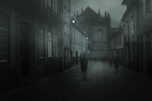 Misty Town With Blurred People
