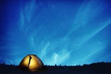 Illuminated Camping Tent At Ni...