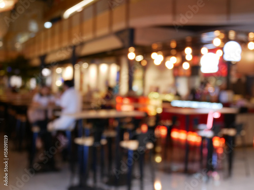 Slika na platnu Image of abstract blur restaurant with people