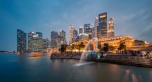 Merlion In Marina Bay Singapore At Night