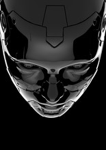 The Head Of A Cyborg On A Black Background.