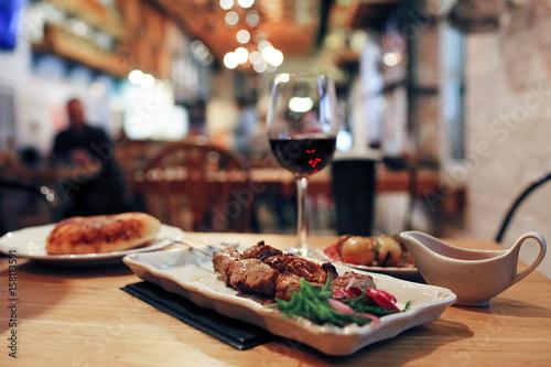 Fotobehang Restaurant Dinner on the table in a cafe