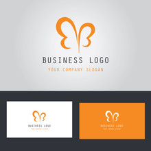 Abstract Letter B Butterfly Logo