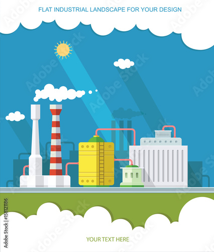 Poster Turquoise industry manufactory building. Factories producing oil and gas, metals and rubber, energy and power. Destroys nature. Icon of eco friendly factories. Flat Vector background illustration