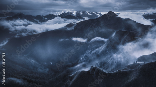 Foto auf Gartenposter Gebirge High mountain landscape in dramatic atmosphere