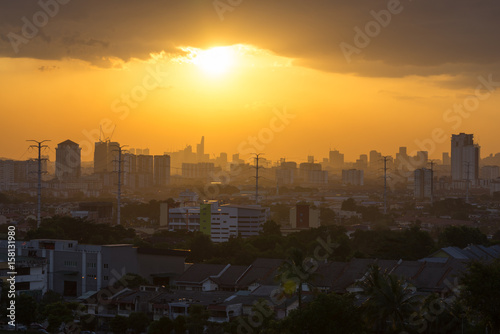 View of downtown Kuala Lumpur during majestic sunset Canvas Print
