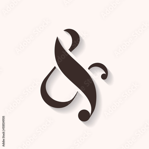Photo  Ampersand icon with shadows, vector illustration
