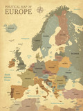 Map of Europe with capitals - Vintage texture - English/US language - Vector CMYK - 158140564