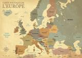 Carte Europe avec capitales - Texture vintage rétro - Textes français - Vecteur CMJN - 158141760