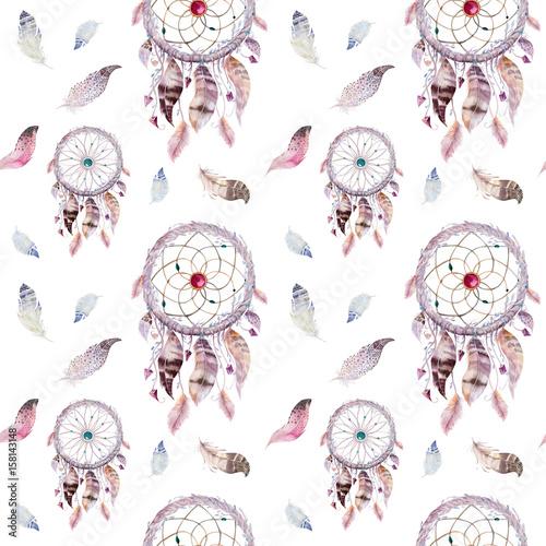 dreamcatcher-i-wzor-pioro-akwarela-bohemy-dekoracji