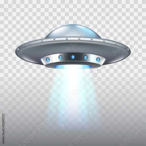 Ufo flying spaceship isolated on white vector Canvas Print