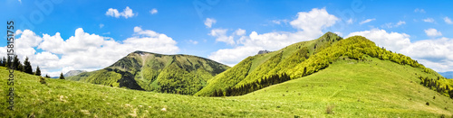 Spoed Foto op Canvas Heuvel Panorama from sunny spring Little Fatra hills - Slovakia
