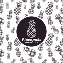 Seamless Pattern With Pineapples. Tropical Fruit Logo