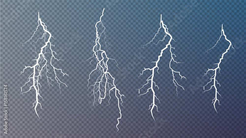Obraz Set of lightnings. Magic and bright lighting effects. - fototapety do salonu