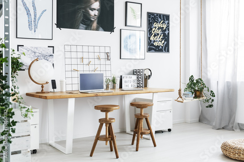 Obraz Double desk and two stools in home office - fototapety do salonu
