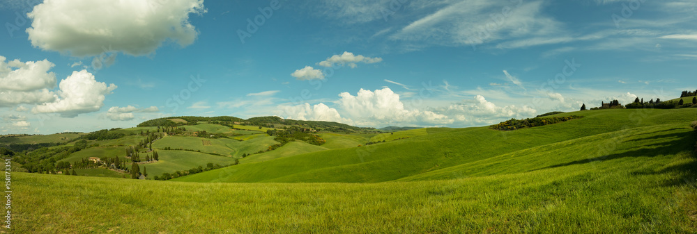 Fototapety, obrazy: Beautiful panorama landscape of waves hills in rural nature, Tuscany farmland, Italy, Europe