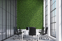 Conference Room Interior With A Grass Wall.