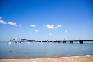 Superbe vue sur le pont de Saint Nazaire, en Loire Atlantique, France