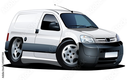 Staande foto Cartoon cars cartoon delivery van