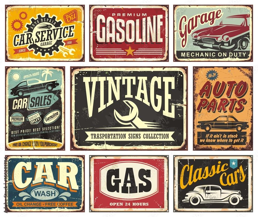 Fototapeta Vintage transportation signs collection for car service
