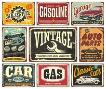 Vintage Transportation Signs Collection For Car Service