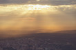 Istanbul view from air shows us amazing sunset scene
