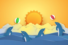 Summer Time , Dolphins Playing With Ball , Paper Art Style