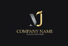 MJ Letter Logo Design In Golden And Metal Color