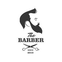 Naklejka The Barber. Handsome man with beard and mustache. Scissors. Barber shop symbol.